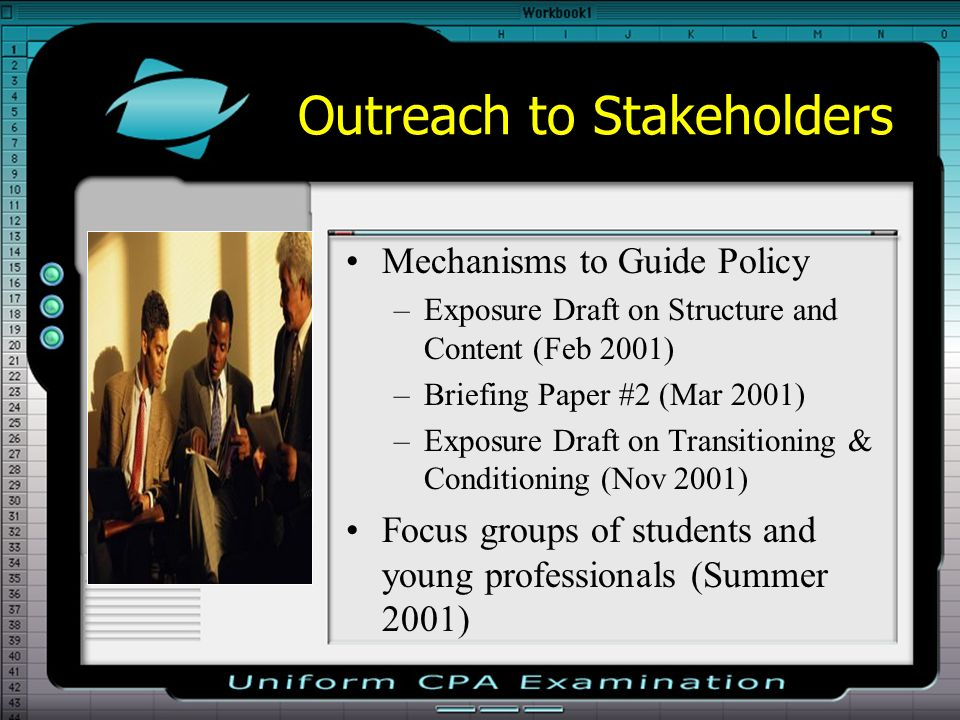 Outreach to Stakeholders Mechanisms to Guide Policy –Exposure Draft on Structure and Content (Feb 2001) –Briefing Paper #2 (Mar 2001) –Exposure Draft