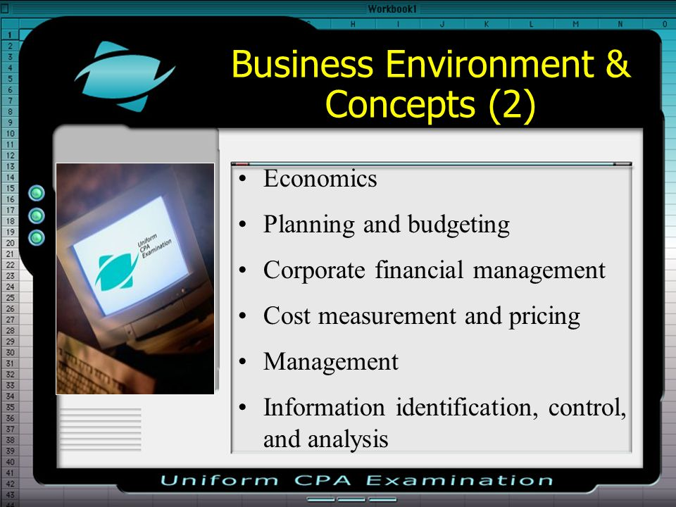 Business Environment & Concepts (2) Economics Planning and budgeting Corporate financial management Cost measurement and pricing Management Informatio