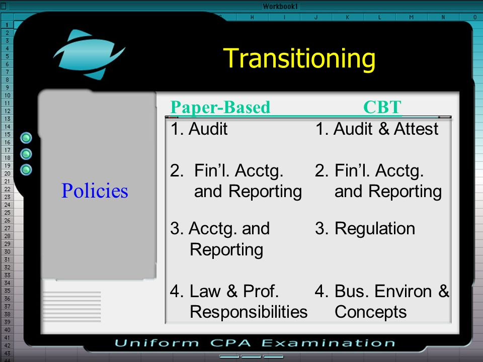 Transitioning Policies Paper-Based CBT 1. Audit 1. Audit & Attest 2. Finl. Acctg.2. Finl. Acctg. and Reporting and Reporting 3. Acctg. and 3. Regulati