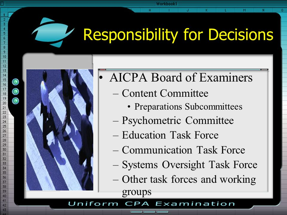 Responsibility for Decisions AICPA Board of Examiners –Content Committee Preparations Subcommittees –Psychometric Committee –Education Task Force –Communication Task Force –Systems Oversight Task Force –Other task forces and working groups