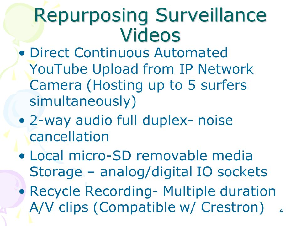 Repurposing Surveillance Videos Direct Continuous Automated YouTube Upload from IP Network Camera (Hosting up to 5 surfers simultaneously) 2-way audio full duplex- noise cancellation Local micro-SD removable media Storage – analog/digital IO sockets Recycle Recording- Multiple duration A/V clips (Compatible w/ Crestron) 4