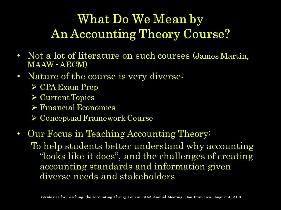 What Do We Mean by An Accounting Theory Course.