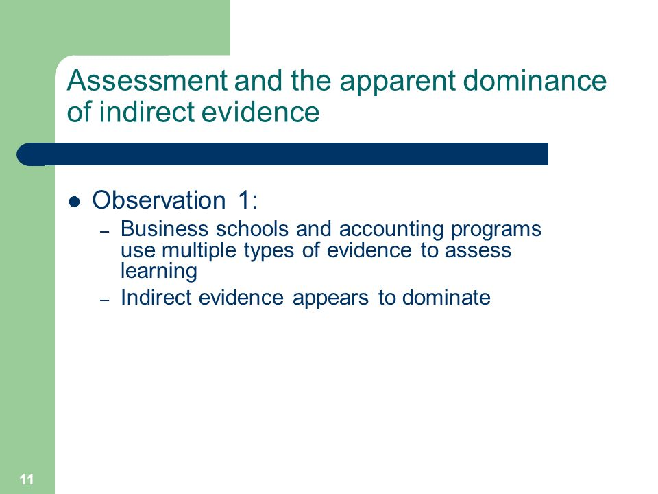 11 Assessment and the apparent dominance of indirect evidence Observation 1: – Business schools and accounting programs use multiple types of evidence to assess learning – Indirect evidence appears to dominate