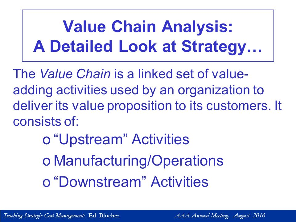 Teaching Strategic Cost Management: Ed Blocher AAA Annual Meeting, August 2010 Part 2: Tools for Integrating Strategy into Cost Accounting/Cost Management Courses -- The Value Chain -- Strategy Maps & the Balanced Scorecard (BSC)