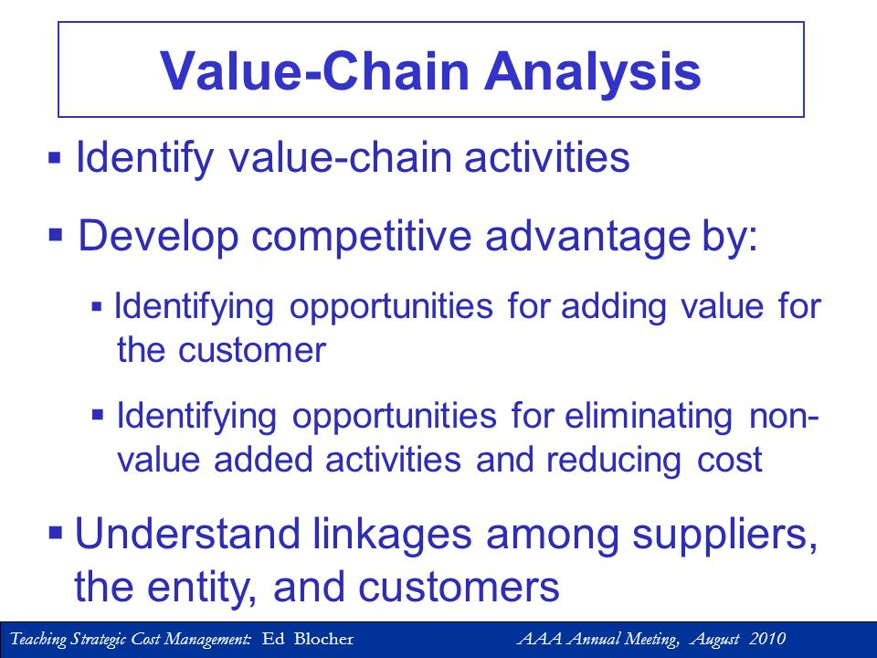 Teaching Strategic Cost Management: Ed Blocher AAA Annual Meeting, August 2010 oUpstream Activities oManufacturing/Operations oDownstream Activities Value Chain Analysis: A Detailed Look at Strategy… The Value Chain is a linked set of value- adding activities used by an organization to deliver its value proposition to its customers.