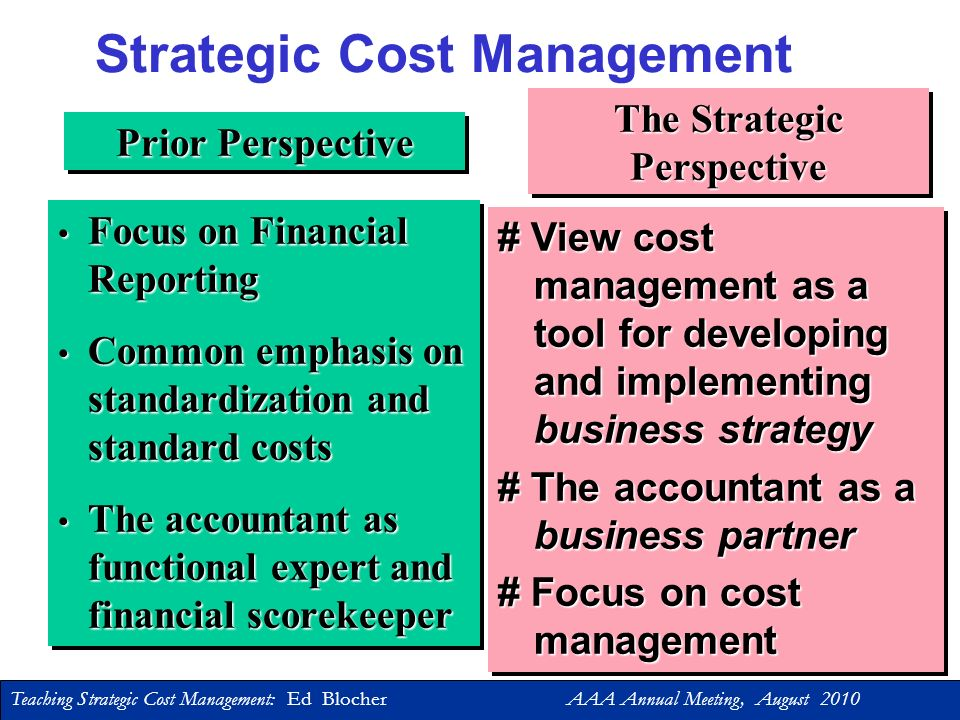 Teaching Strategic Cost Management: Ed Blocher AAA Annual Meeting, August 2010 Three Levels to Teaching … First Level: Explain the topic Second Level: