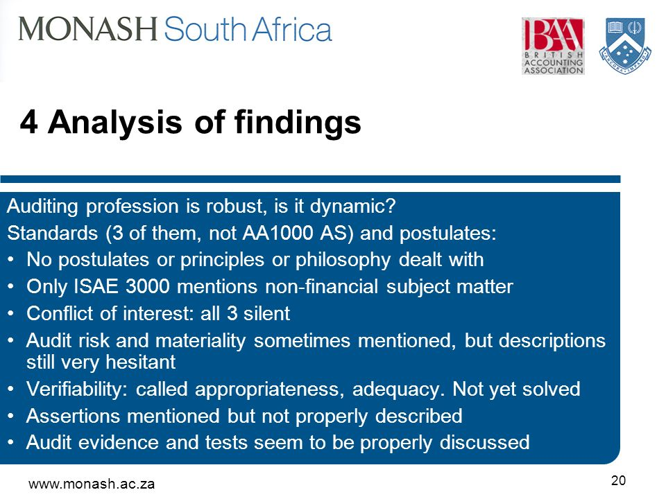 Analysis of findings Auditing profession is robust, is it dynamic.