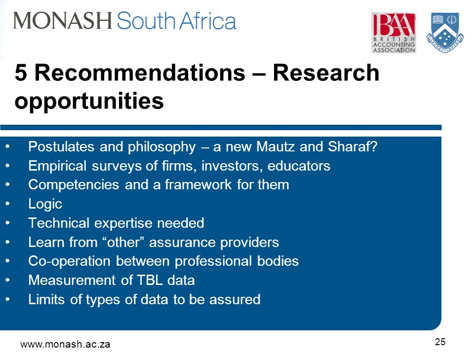www.monash.ac.za 25 5 Recommendations – Research opportunities Postulates and philosophy – a new Mautz and Sharaf? Empirical surveys of firms, investo