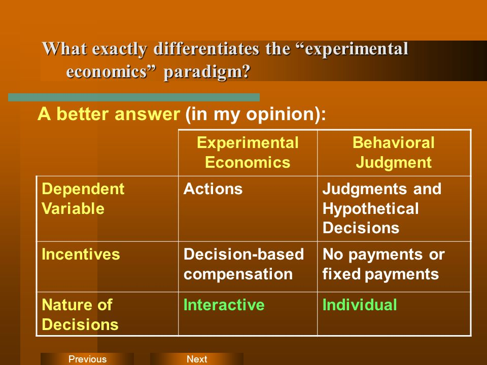 NextPrevious What exactly differentiates the experimental economics paradigm? A better answer (in my opinion): Experimental Economics Behavioral Judgm