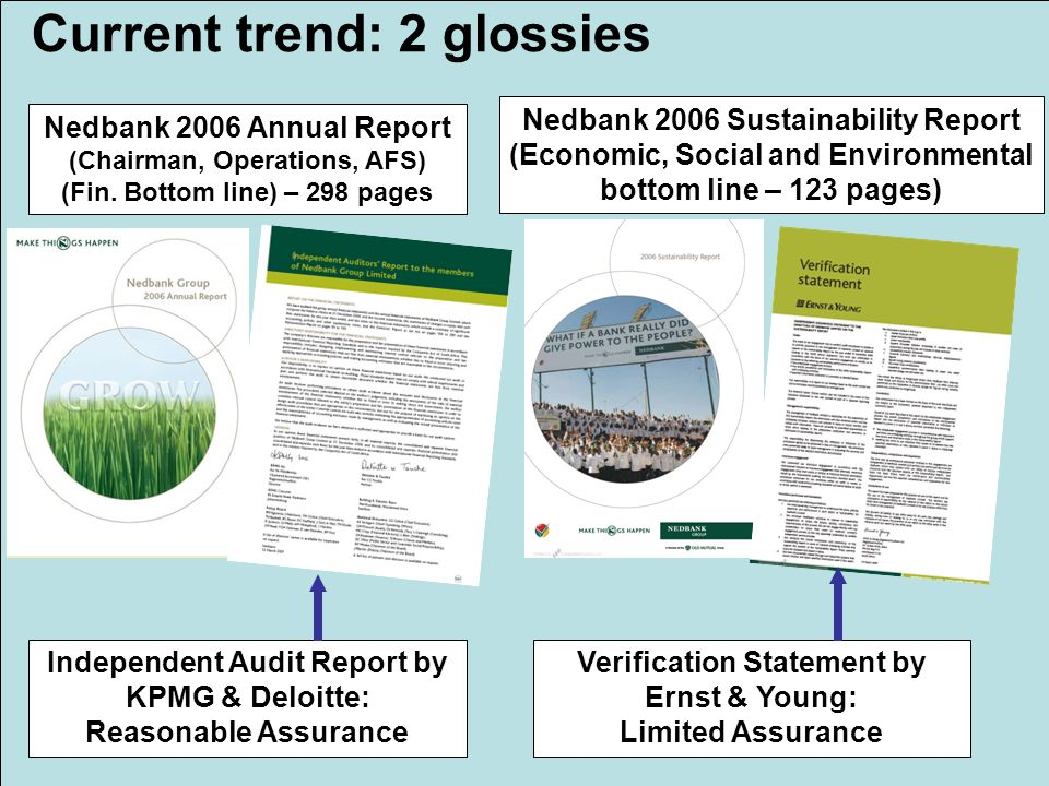 4 Current trend: 2 glossies Nedbank 2006 Sustainability Report (Economic, Social and Environmental bottom line – 123 pages) Nedbank 2006 Annual Report (Chairman, Operations, AFS) (Fin.