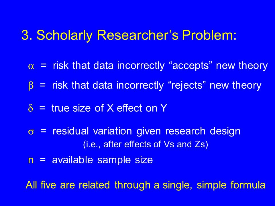 3. Scholarly Researchers Problem: = risk that data incorrectly accepts new theory = risk that data incorrectly rejects new theory = true size of X eff