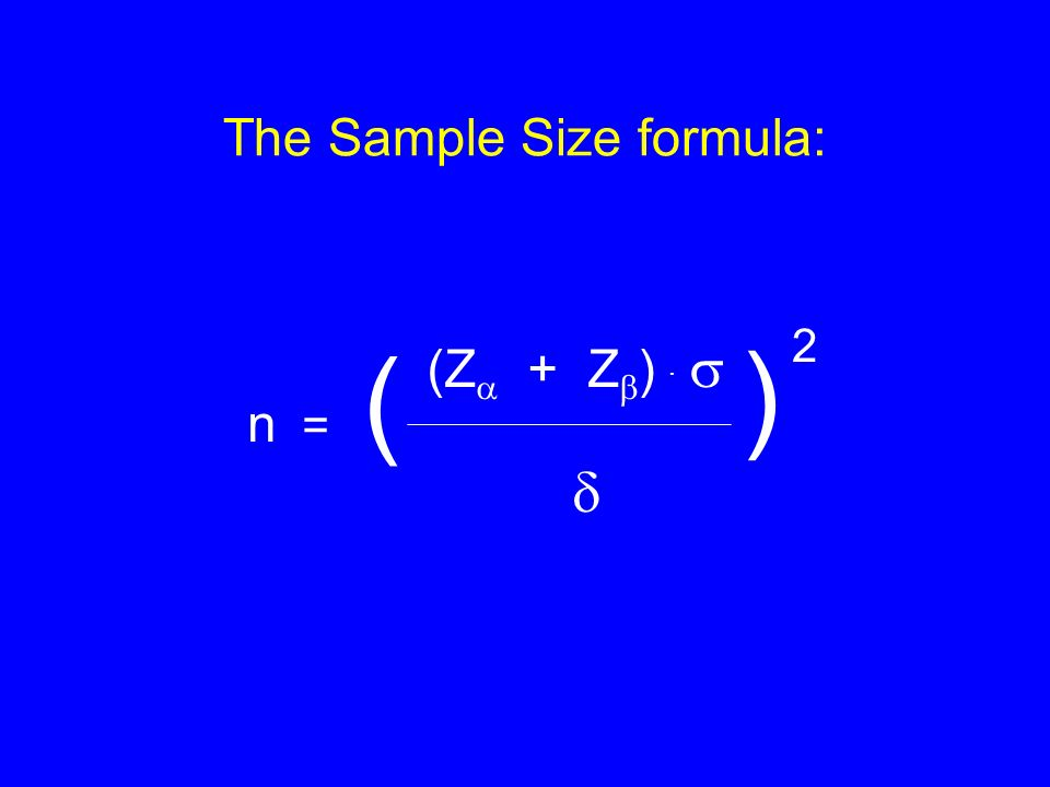 The Sample Size formula: (Z + Z ). n = ( ) 2