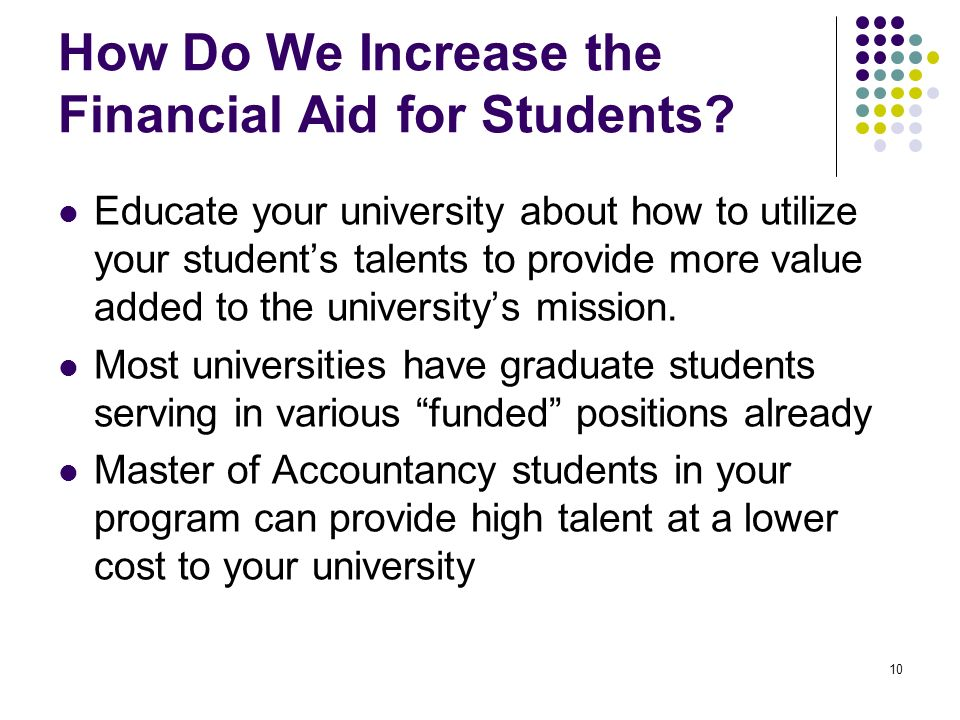 10 How Do We Increase the Financial Aid for Students.