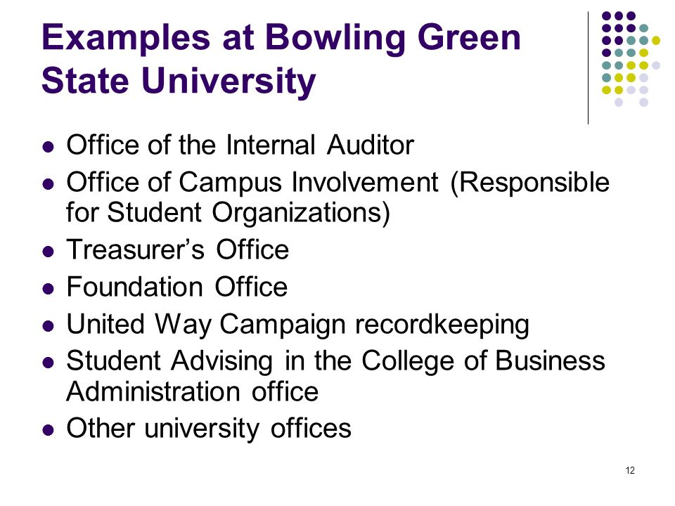 12 Examples at Bowling Green State University Office of the Internal Auditor Office of Campus Involvement (Responsible for Student Organizations) Treasurers Office Foundation Office United Way Campaign recordkeeping Student Advising in the College of Business Administration office Other university offices