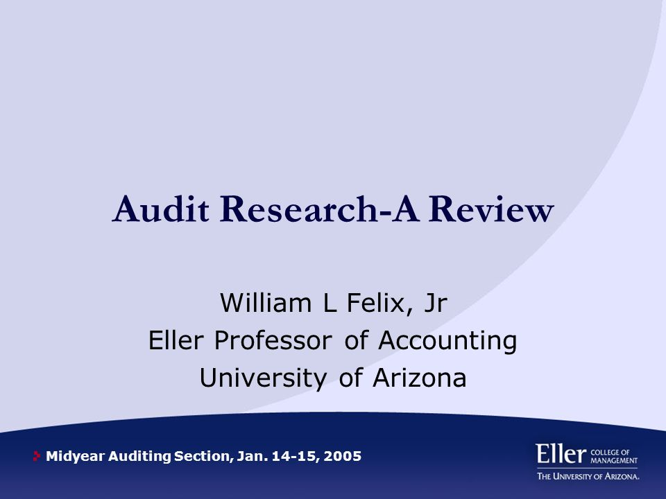 Midyear Auditing Section, Jan.14-15, 2005 Experimental Economics Whats Next.