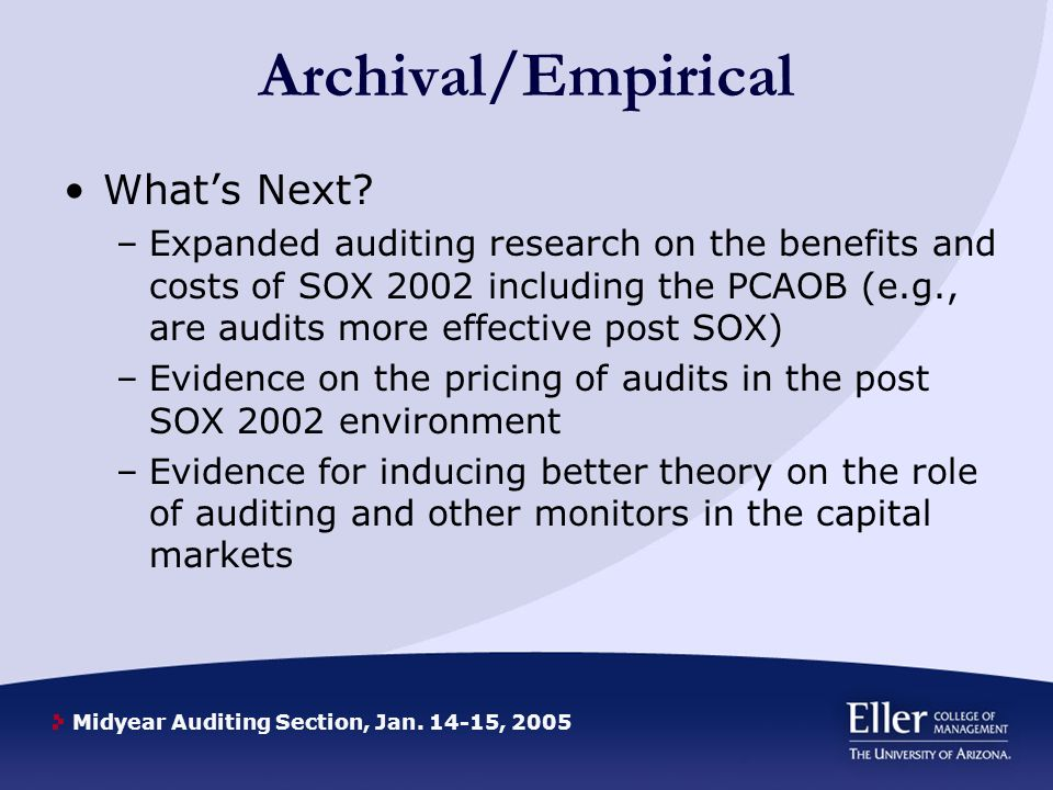 Midyear Auditing Section, Jan , 2005 Archival/Empirical Whats Next.