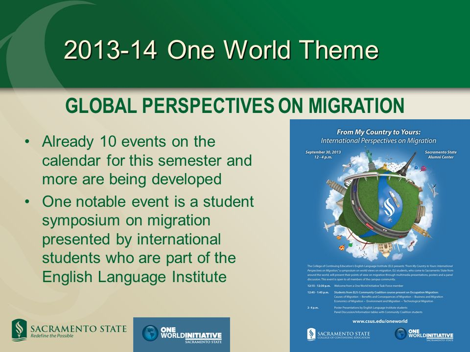 GLOBAL PERSPECTIVES ON MIGRATION 2013-14 One World Theme Already 10 events on the calendar for this semester and more are being developed One notable event is a student symposium on migration presented by international students who are part of the English Language Institute