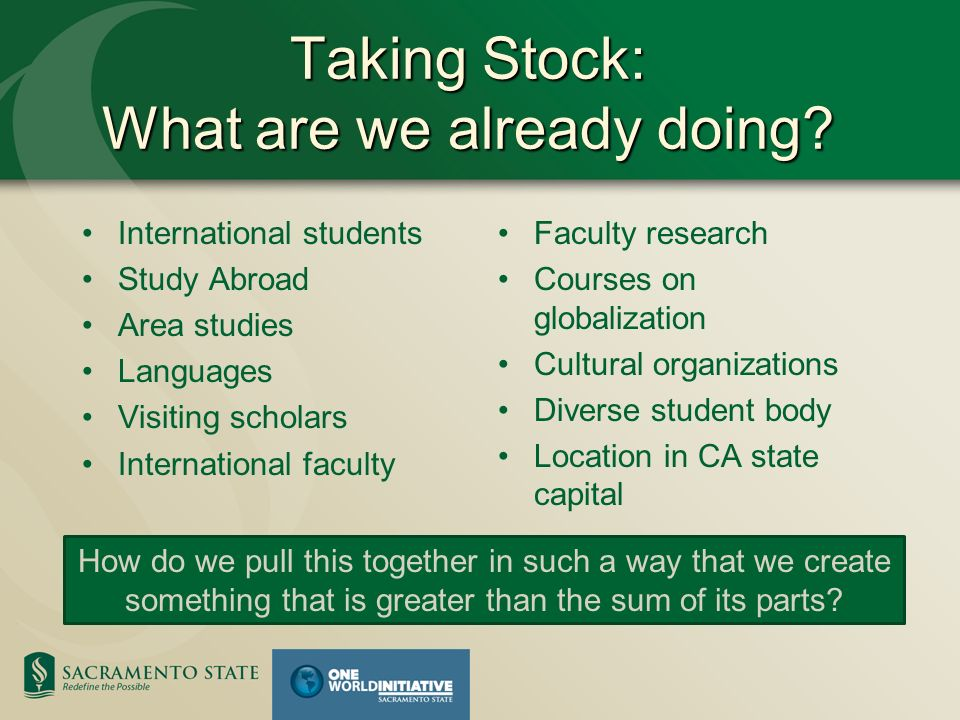 Taking Stock: What are we already doing.