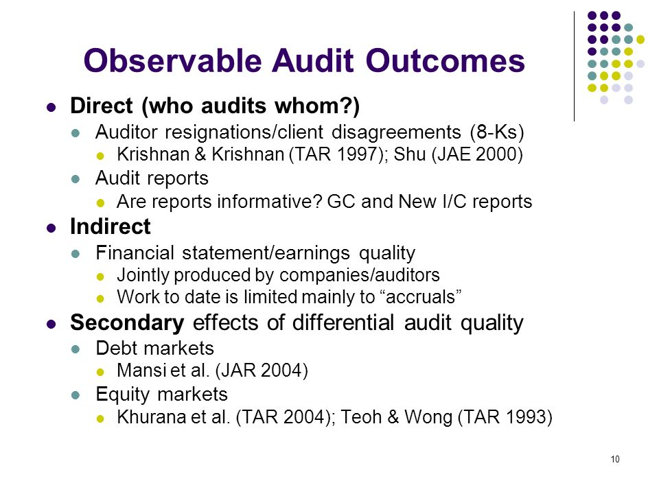 10 Observable Audit Outcomes Direct (who audits whom?) Auditor resignations/client disagreements (8-Ks) Krishnan & Krishnan (TAR 1997); Shu (JAE 2000) Audit reports Are reports informative.