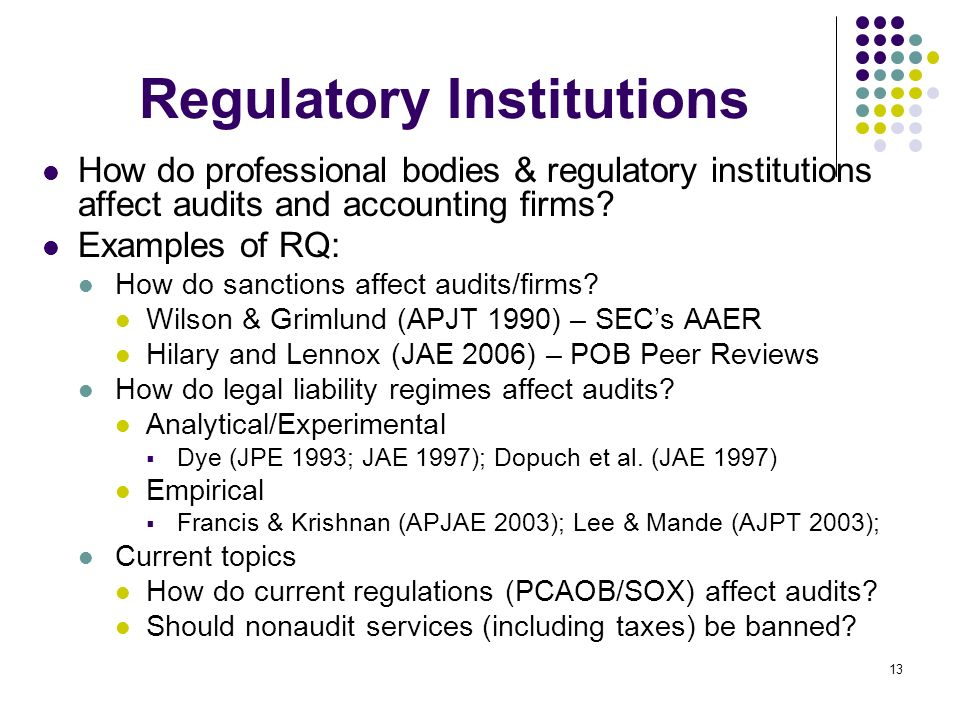 13 Regulatory Institutions How do professional bodies & regulatory institutions affect audits and accounting firms? Examples of RQ: How do sanctions a