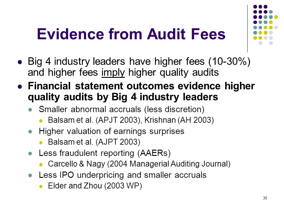 30 Evidence from Audit Fees Big 4 industry leaders have higher fees (10-30%) and higher fees imply higher quality audits Financial statement outcomes