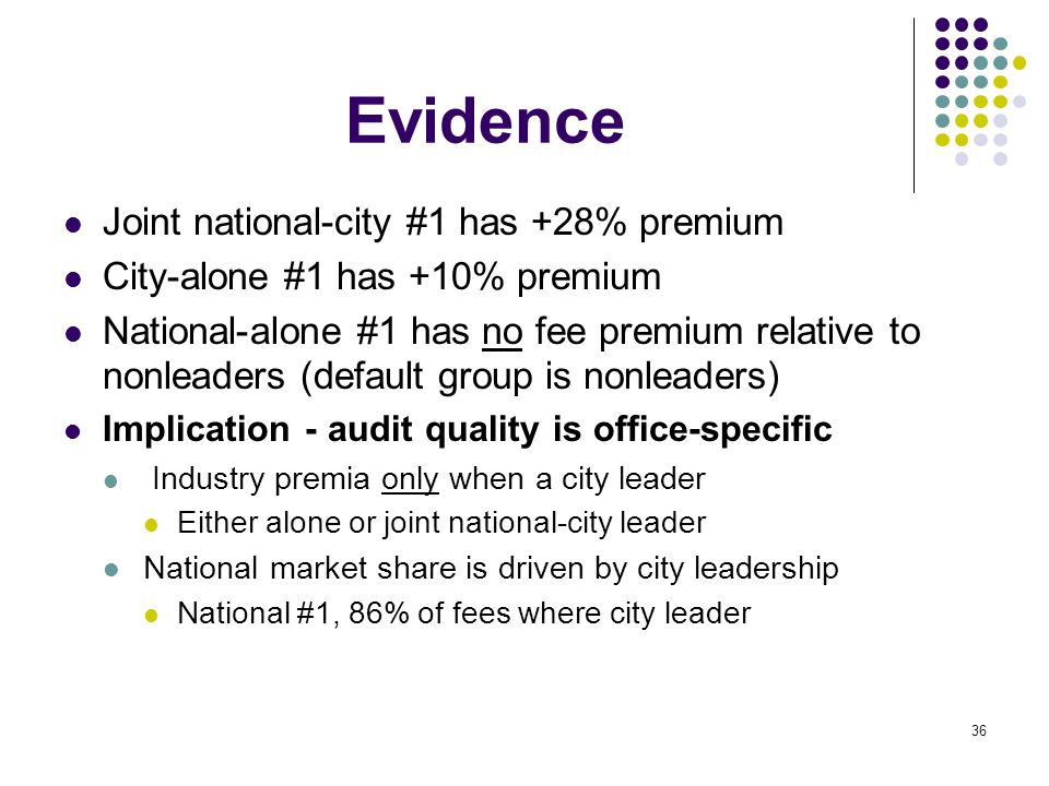 36 Evidence Joint national-city #1 has +28% premium City-alone #1 has +10% premium National-alone #1 has no fee premium relative to nonleaders (defaul