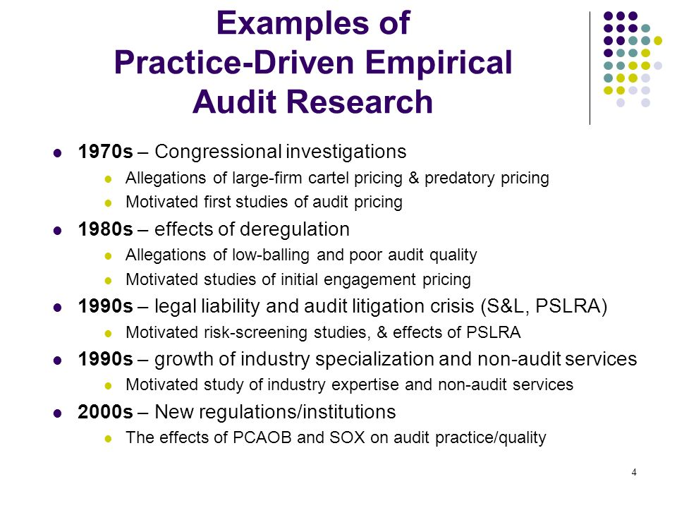 4 Examples of Practice-Driven Empirical Audit Research 1970s – Congressional investigations Allegations of large-firm cartel pricing & predatory prici