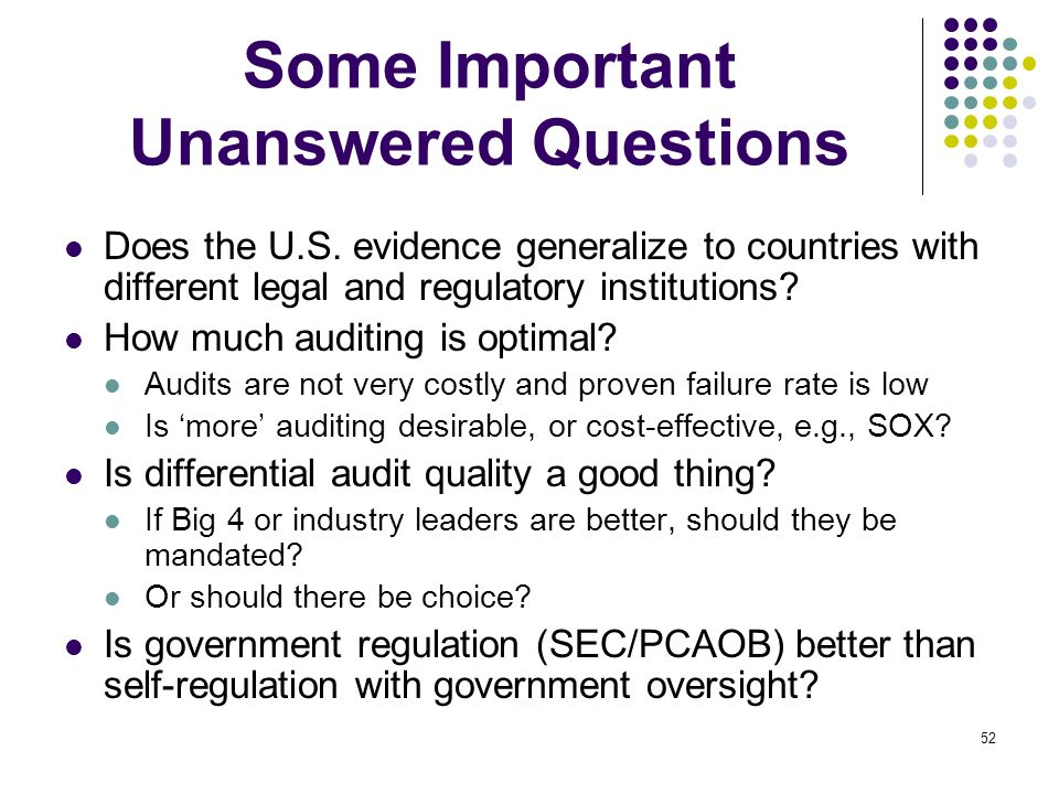 52 Some Important Unanswered Questions Does the U.S. evidence generalize to countries with different legal and regulatory institutions? How much audit