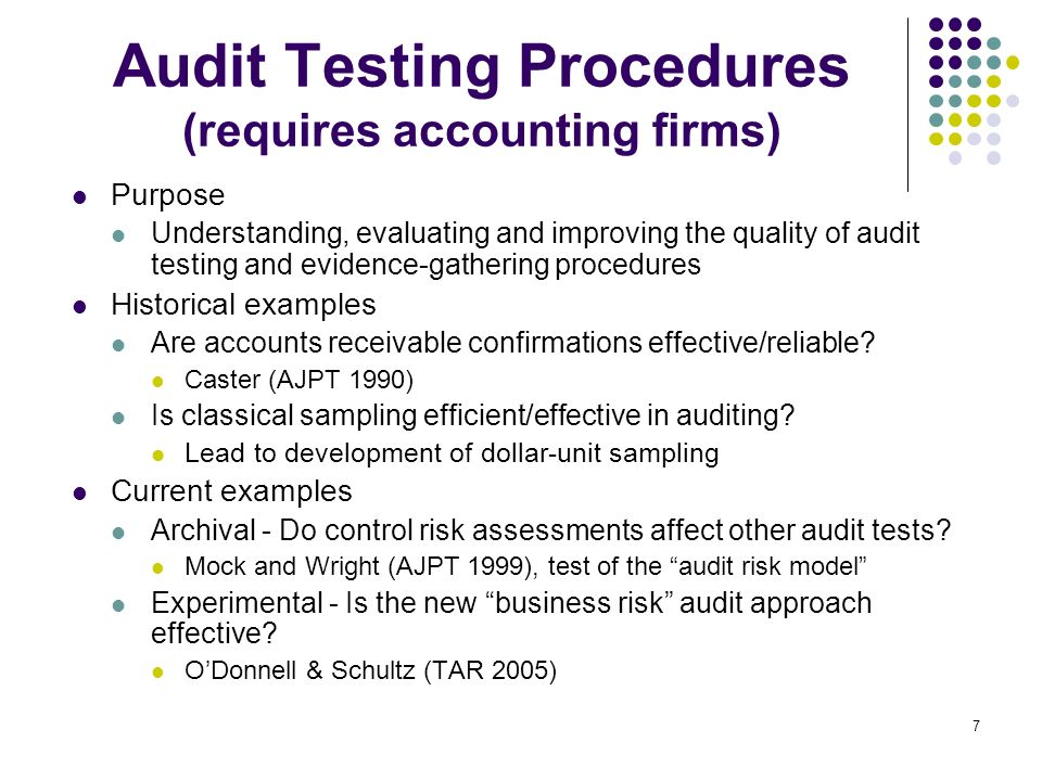 7 Audit Testing Procedures (requires accounting firms) Purpose Understanding, evaluating and improving the quality of audit testing and evidence-gathe