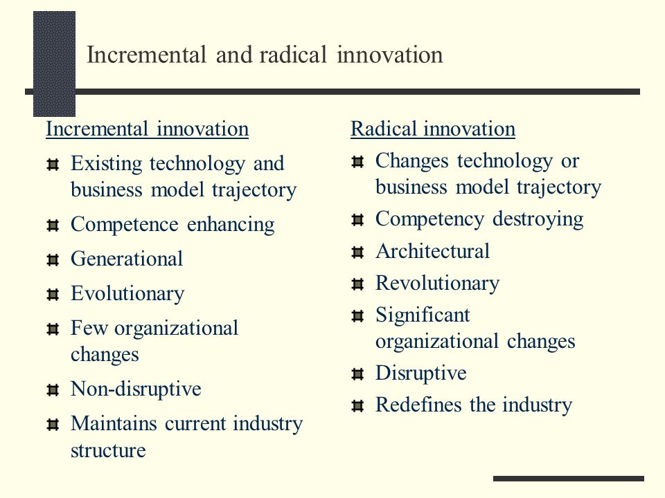 Incremental and radical innovation Incremental innovation Existing technology and business model trajectory Competence enhancing Generational Evolutio