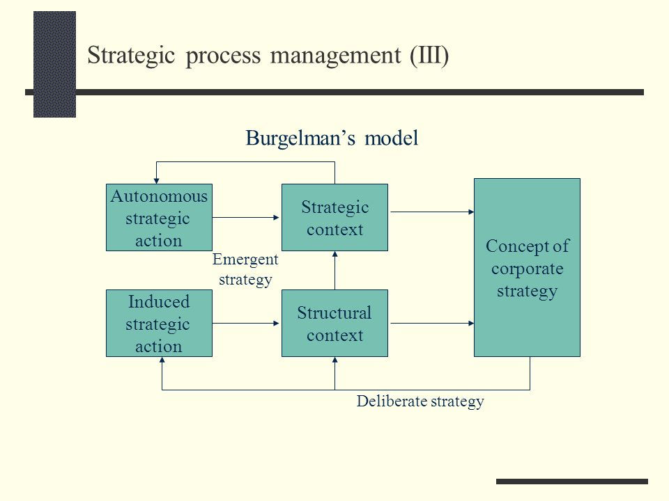 Strategic process management (III) Autonomous strategic action Burgelmans model Induced strategic action Strategic context Structural context Concept