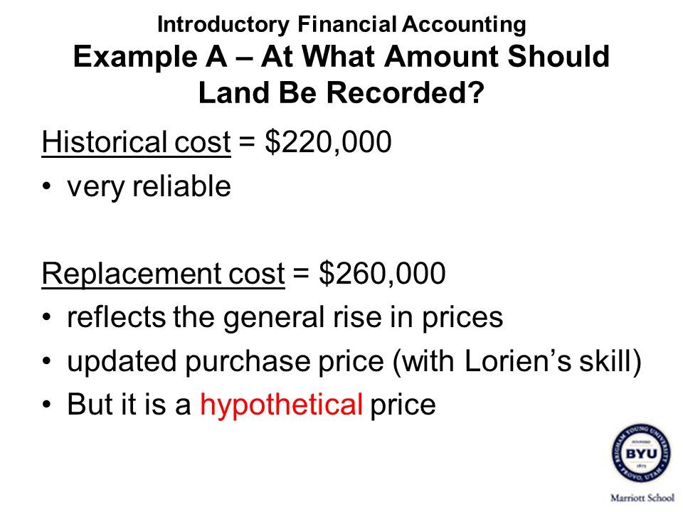 Introductory Financial Accounting Example A – At What Amount Should Land Be Recorded? Historical cost = $220,000 very reliable Replacement cost = $260