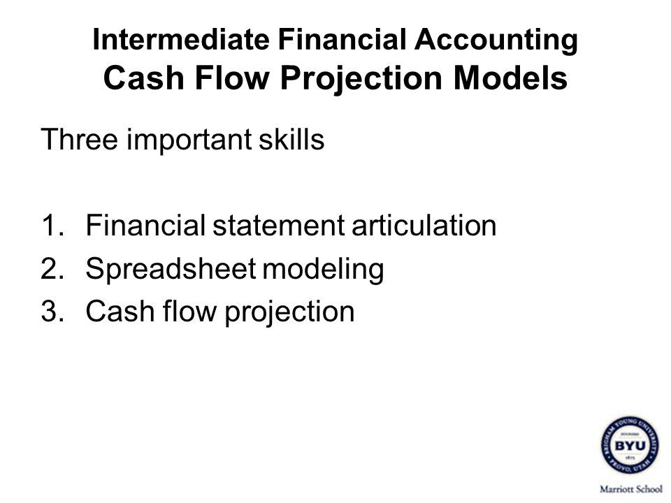 Intermediate Financial Accounting Cash Flow Projection Models Three important skills 1.Financial statement articulation 2.Spreadsheet modeling 3.Cash