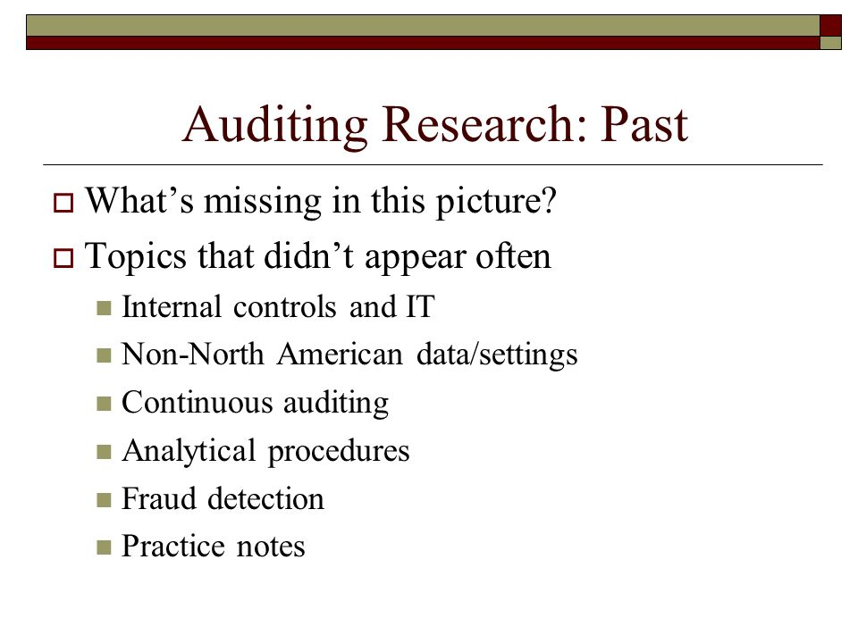 Auditing Research: Past Whats missing in this picture.