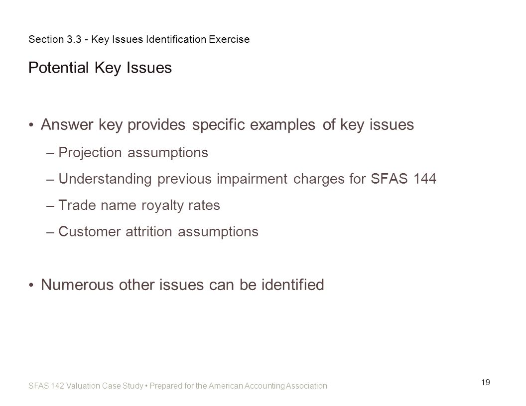 SFAS 142 Valuation Case Study Prepared for the American Accounting Association Potential Key Issues 19 Answer key provides specific examples of key is