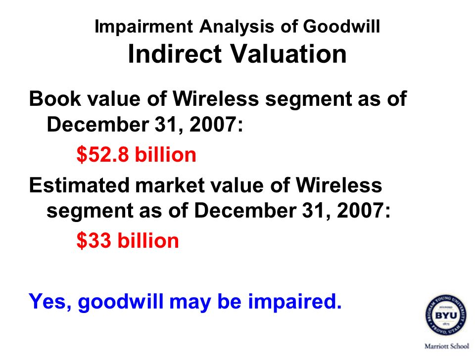 Book value of Wireless segment as of December 31, 2007: $52.8 billion Estimated market value of Wireless segment as of December 31, 2007: $33 billion