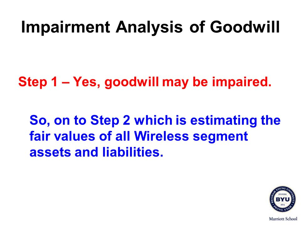 Impairment Analysis of Goodwill Step 1 – Yes, goodwill may be impaired.