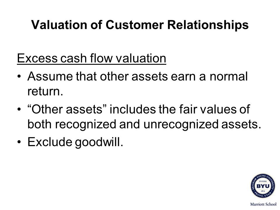 Valuation of Customer Relationships Excess cash flow valuation Assume that other assets earn a normal return. Other assets includes the fair values of