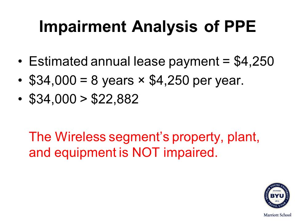 Impairment Analysis of PPE Estimated annual lease payment = $4,250 $34,000 = 8 years × $4,250 per year. $34,000 > $22,882 The Wireless segments proper