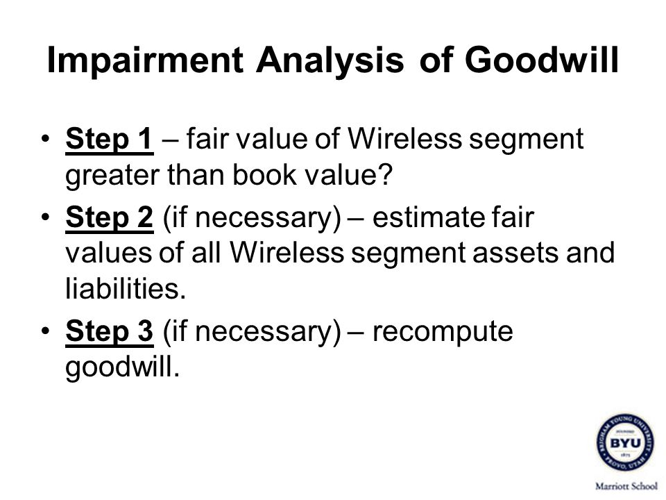 Impairment Analysis of Goodwill Step 1 – fair value of Wireless segment greater than book value.