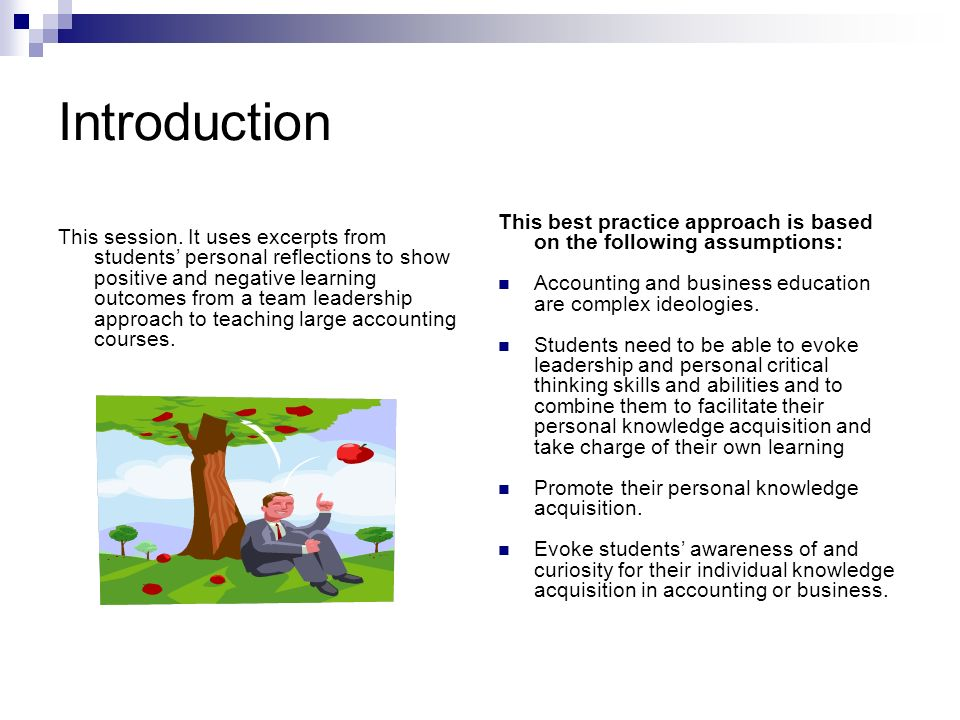 Introduction This session. It uses excerpts from students personal reflections to show positive and negative learning outcomes from a team leadership