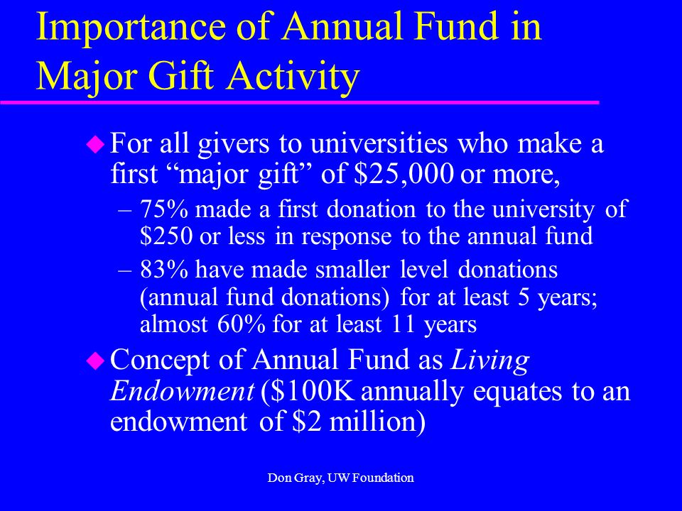 Don Gray, UW Foundation ANNUAL FUND DONATIONS u Frequently Given and Asked For u From Discretionary Income; Little Decision Making; Decision is Immediate; Spouse Often Not Involved u 2-5% of Annual Gross Income (To All) u Sustaining/Operational Fund u Direct Mail/Events/Telethon u 90% of gifts; 10% of dollars u Most major gifts come from annual fund donors