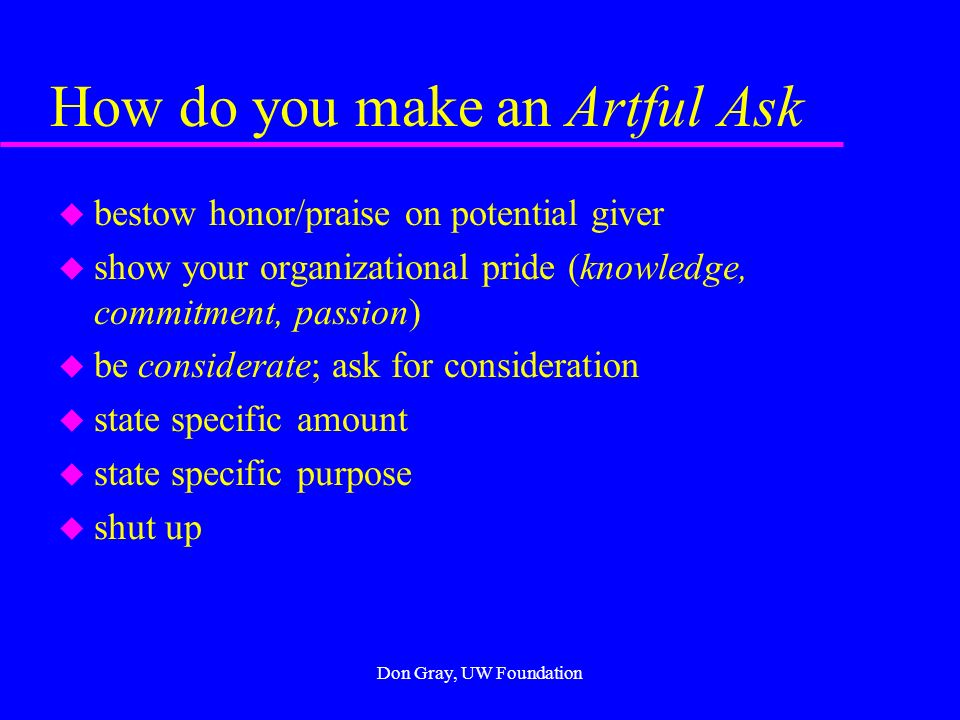 Making the Artful Ask Attitude is Everything