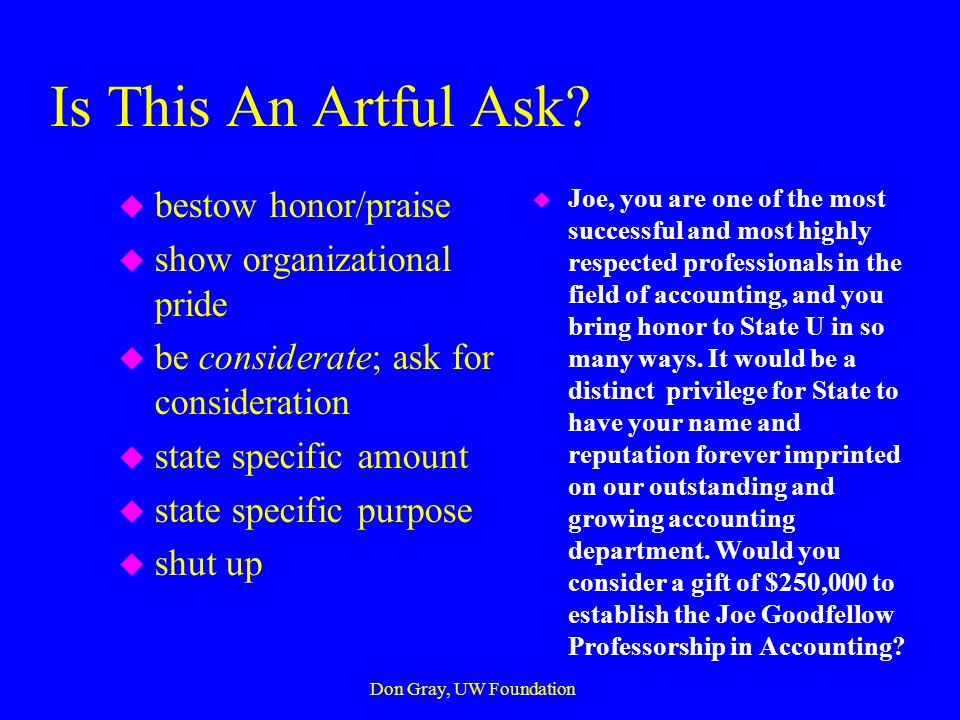 Is This an Artful Ask? u bestow honor/praise u show organizational pride u be considerate; ask for consideration u state specific amount u state speci