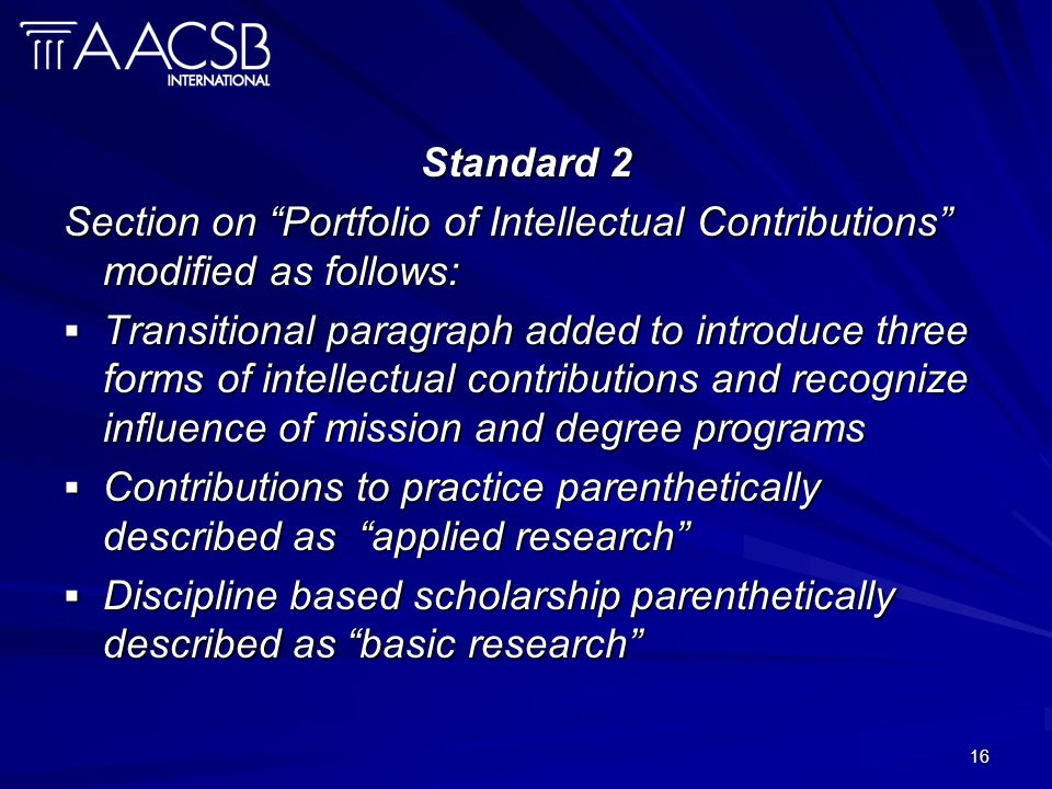 16 Standard 2 Section on Portfolio of Intellectual Contributions modified as follows: Transitional paragraph added to introduce three forms of intelle