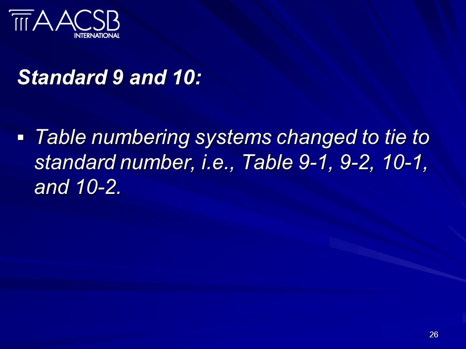 26 Standard 9 and 10: Table numbering systems changed to tie to standard number, i.e., Table 9-1, 9-2, 10-1, and 10-2.