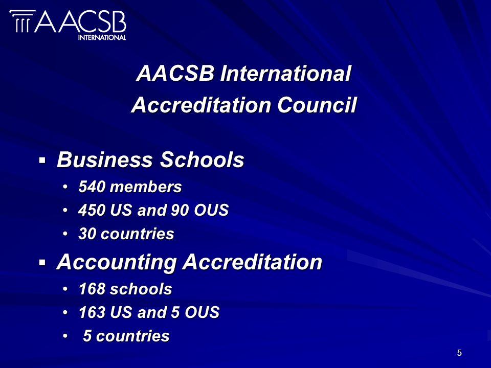 5 AACSB International Accreditation Council Business Schools Business Schools 540 members540 members 450 US and 90 OUS450 US and 90 OUS 30 countries30 countries Accounting Accreditation Accounting Accreditation 168 schools168 schools 163 US and 5 OUS163 US and 5 OUS 5 countries 5 countries
