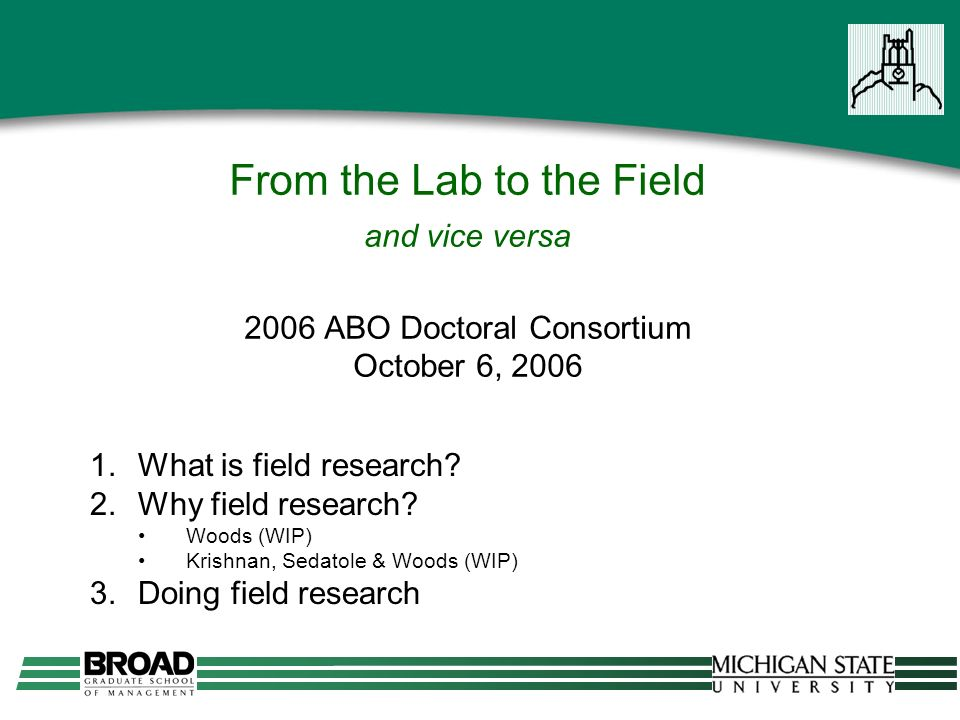 From the Lab to the Field and vice versa 2006 ABO Doctoral Consortium October 6, 2006 1.What is field research.