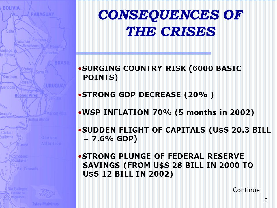 8 CONSEQUENCES OF THE CRISES SURGING COUNTRY RISK (6000 BASIC POINTS) STRONG GDP DECREASE (20% ) WSP INFLATION 70% (5 months in 2002) SUDDEN FLIGHT OF CAPITALS (U$S 20.3 BILL = 7.6% GDP) STRONG PLUNGE OF FEDERAL RESERVE SAVINGS (FROM U$S 28 BILL IN 2000 TO U$S 12 BILL IN 2002) Continue