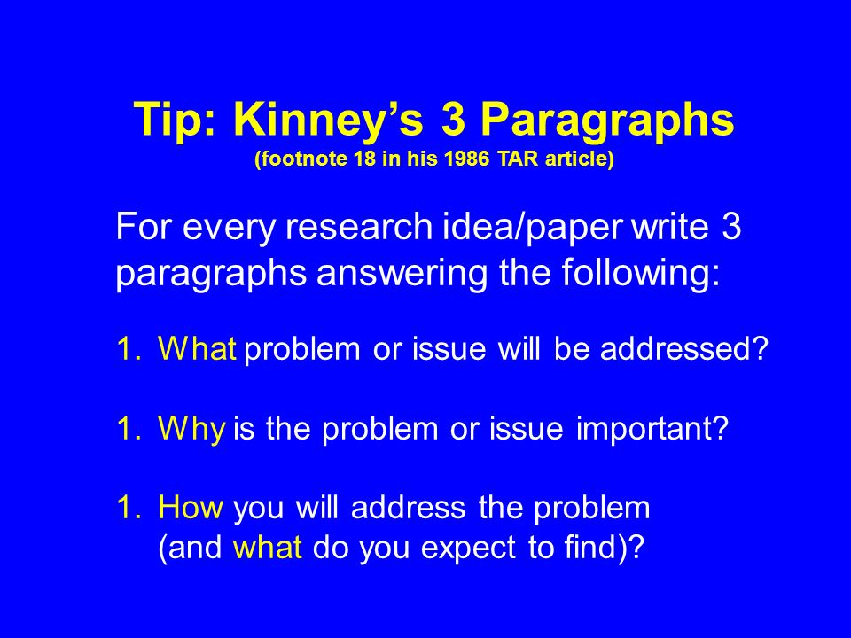 For every research idea/paper write 3 paragraphs answering the following: 1.What problem or issue will be addressed.